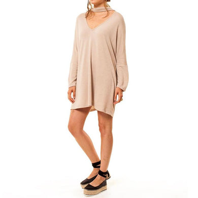 the woods Audrey Olive Maternity terry sweatshirt choker dress blush pink beige