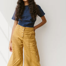 The Woods Neve and Hawk Sunrise Pant wide leg cotton button fly marigold mustard yellow