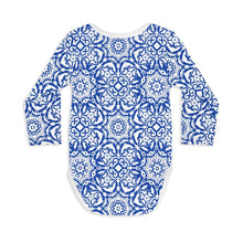 Shop The Woods Sleep No More organic GOTS baby onesie romper bodysuit long sleeve modern print blue moroccan mediterranean tile mosaic white unisex gender neutral