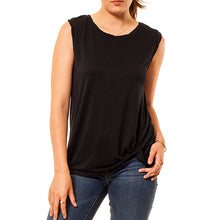 shop the woods Audrey and Olive 3+1 maternity clothes stretchy muscle tank top with side twist knot in black