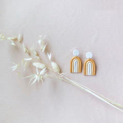 The Woods Brooke Creative Co clay polymer wood earrings Indio scandinavian rainbow white sand