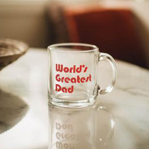 The Woods The Bee and the Fox world's greatest dad clear glass coffee mug