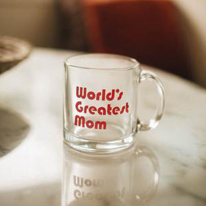 The Woods The Bee and the Fox world's greatest mom clear glass coffee mug