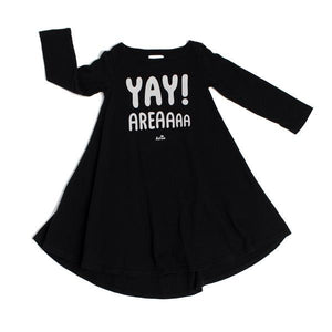 Kira Kids heather black yay area tee t-shirt skater swing ballet dress baby babies audrey and olive maternity clothes shop the woods san francisco