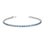white gold Blue Topaz tennis bracelet 3.88ct