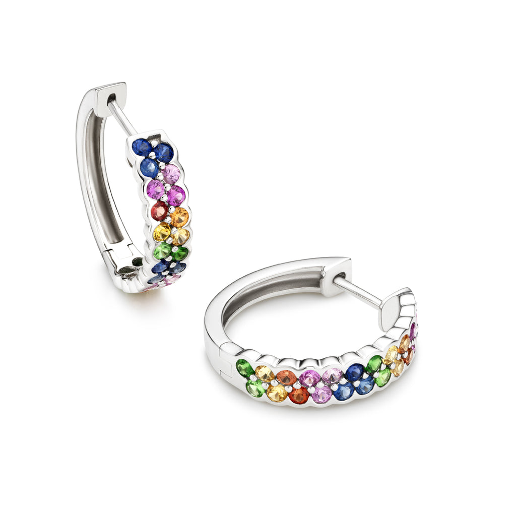 Rainbow 18 mm sapphire earrings in 18ct white gold