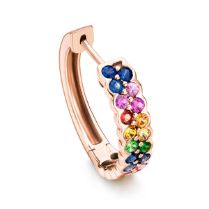 Rainbow 18 mm sapphire earrings in 18ct rose gold