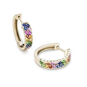 Rainbow 18 mm sapphire earrings in 18ct yellow gold