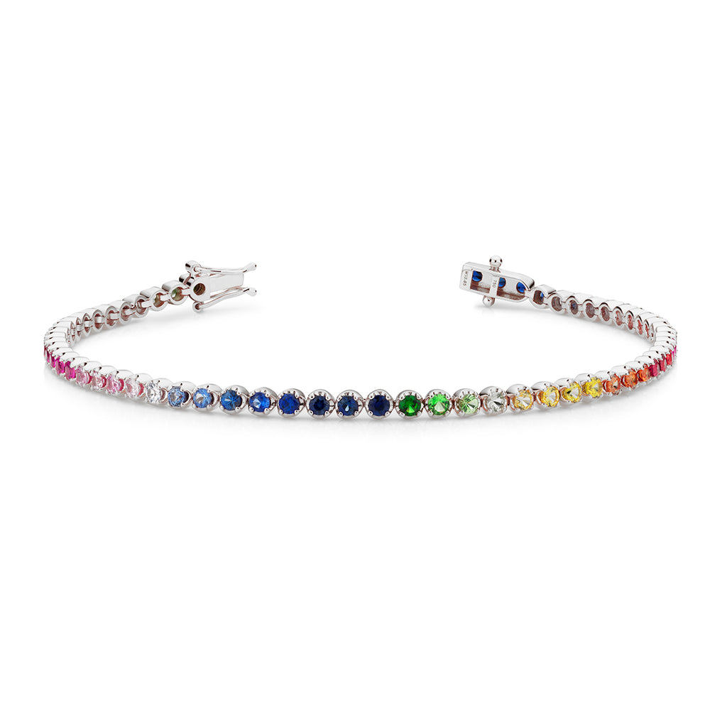 18ct white gold Rainbow tennis bracelet 61 sapphires
