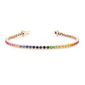 18ct yellow gold Rainbow tennis bracelet 61 sapphires