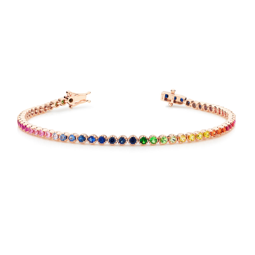 18ct rose gold Rainbow tennis bracelet 61 sapphires