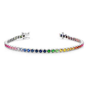 18ct white gold Rainbow tennis bracelet 54 sapphires