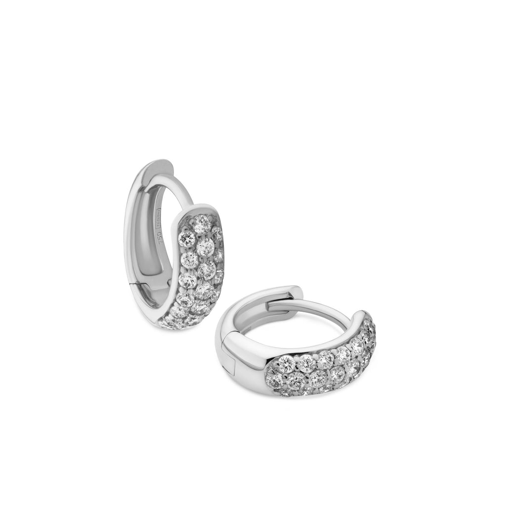 3-row pavé diamond Gemopoli Huggies 18ct white gold