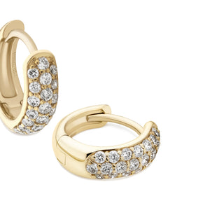 3-row pavé diamond Gemopoli Huggies 18ct yellow gold