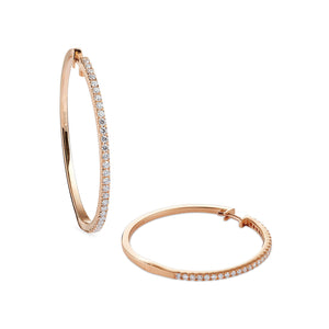 diamond 30mm hoops 18ct rose gold