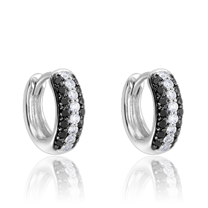 3-row pavé black & white diamond Gemopoli Huggies white gold