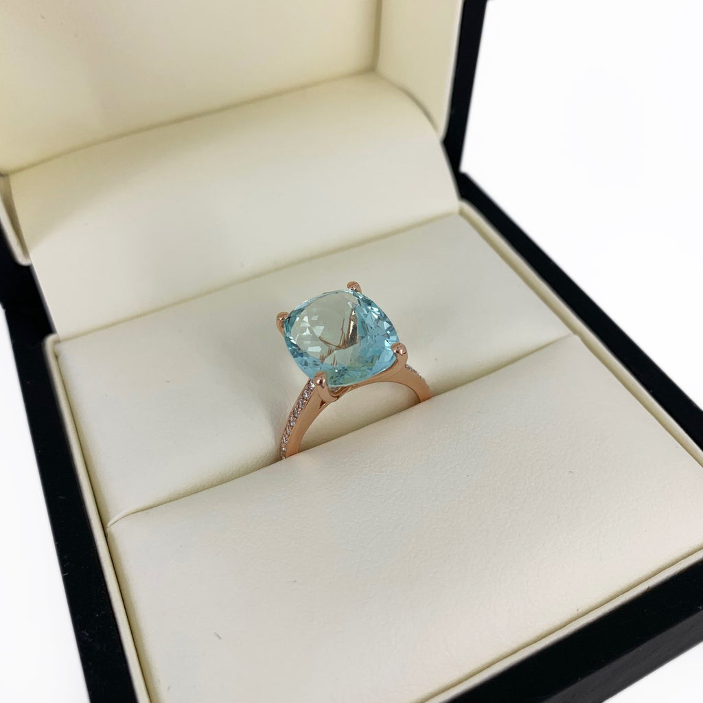 Aquamarine dress ring 18ct rose gold P.O.A