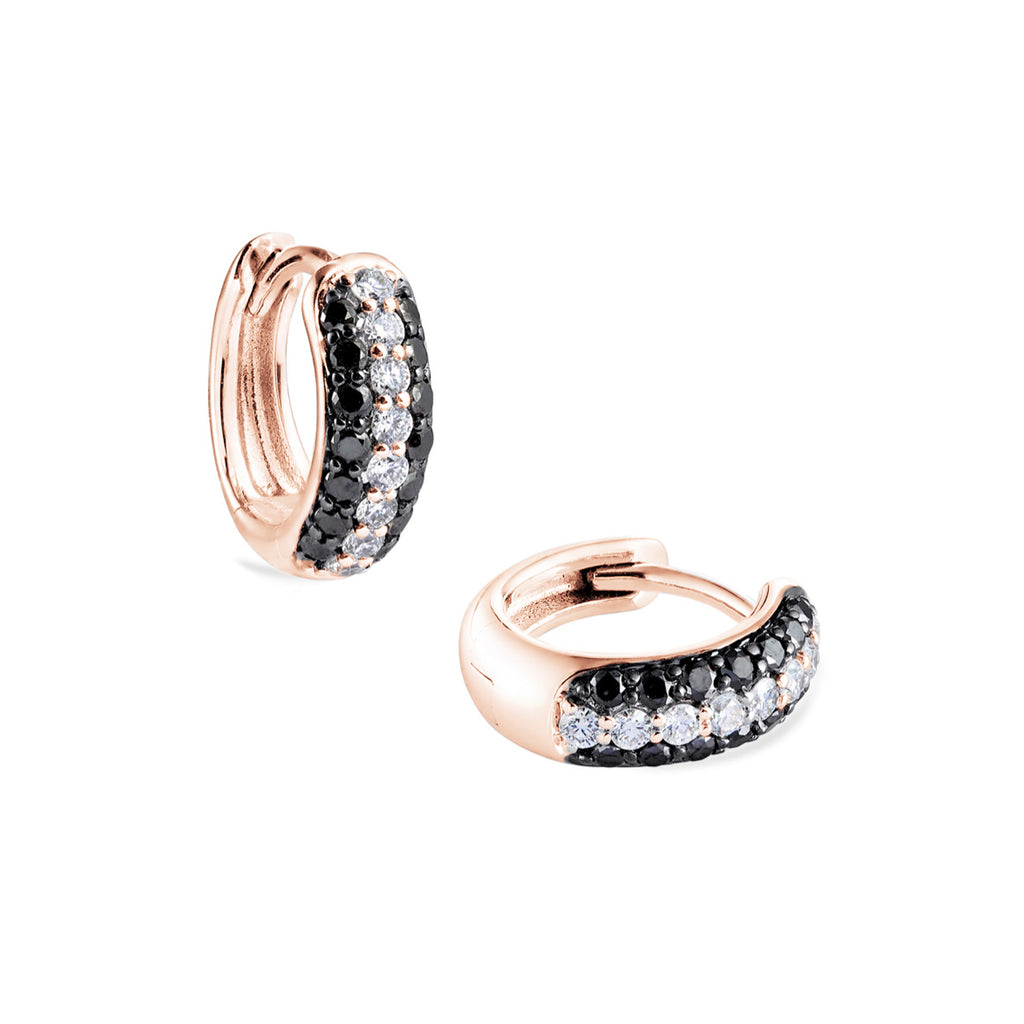 3-row pavé black & white diamond Gemopoli Huggies rose gold