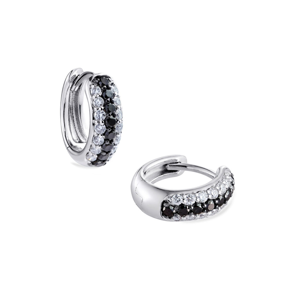 3-row pavé white & black diamond Gemopoli Huggies white gold