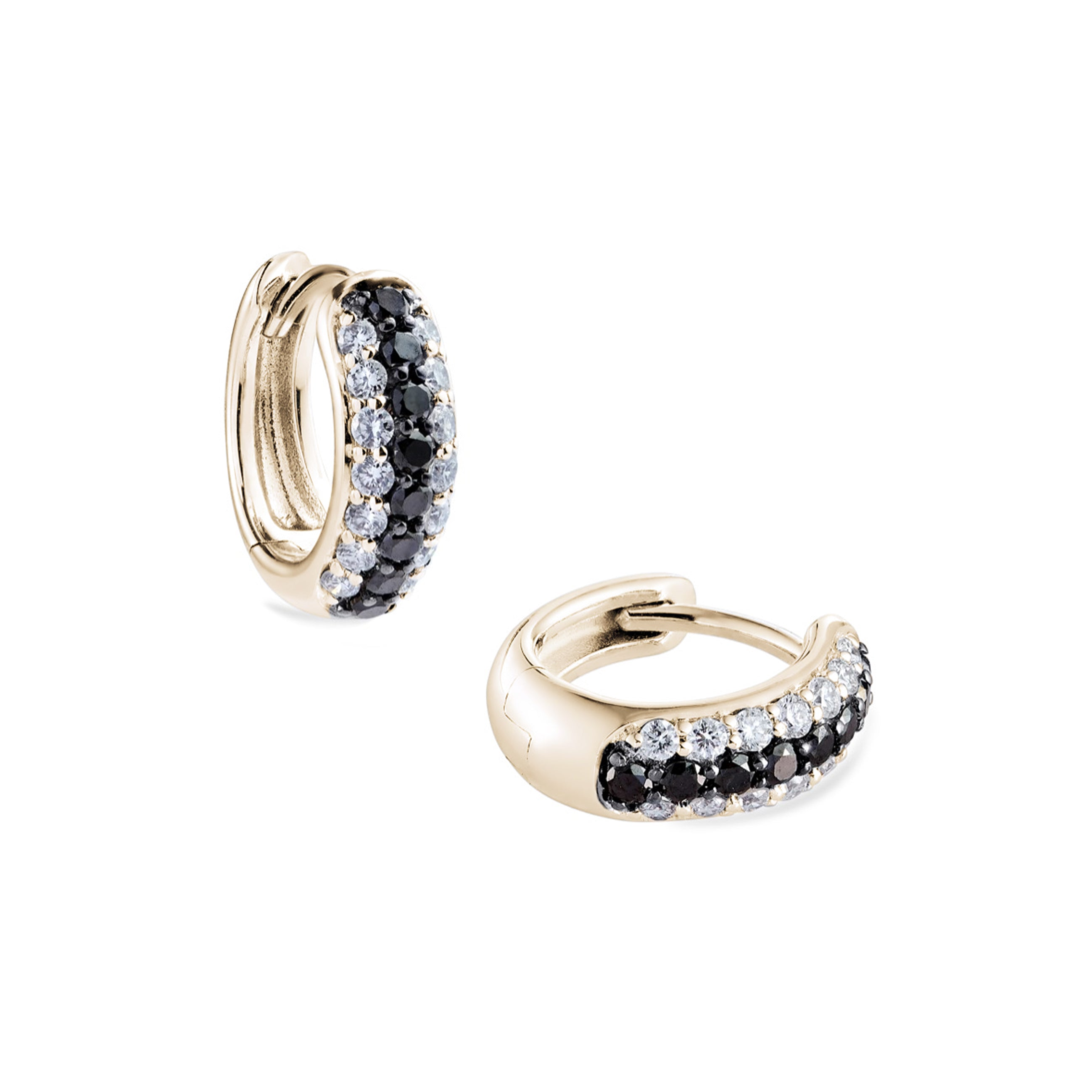3-row pavé white & black diamond Gemopoli Huggies yellow gold