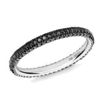 Gemopoli black diamond 3 row full eternity ring 18ct white gold