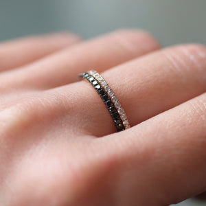 black and white diamond ring pair