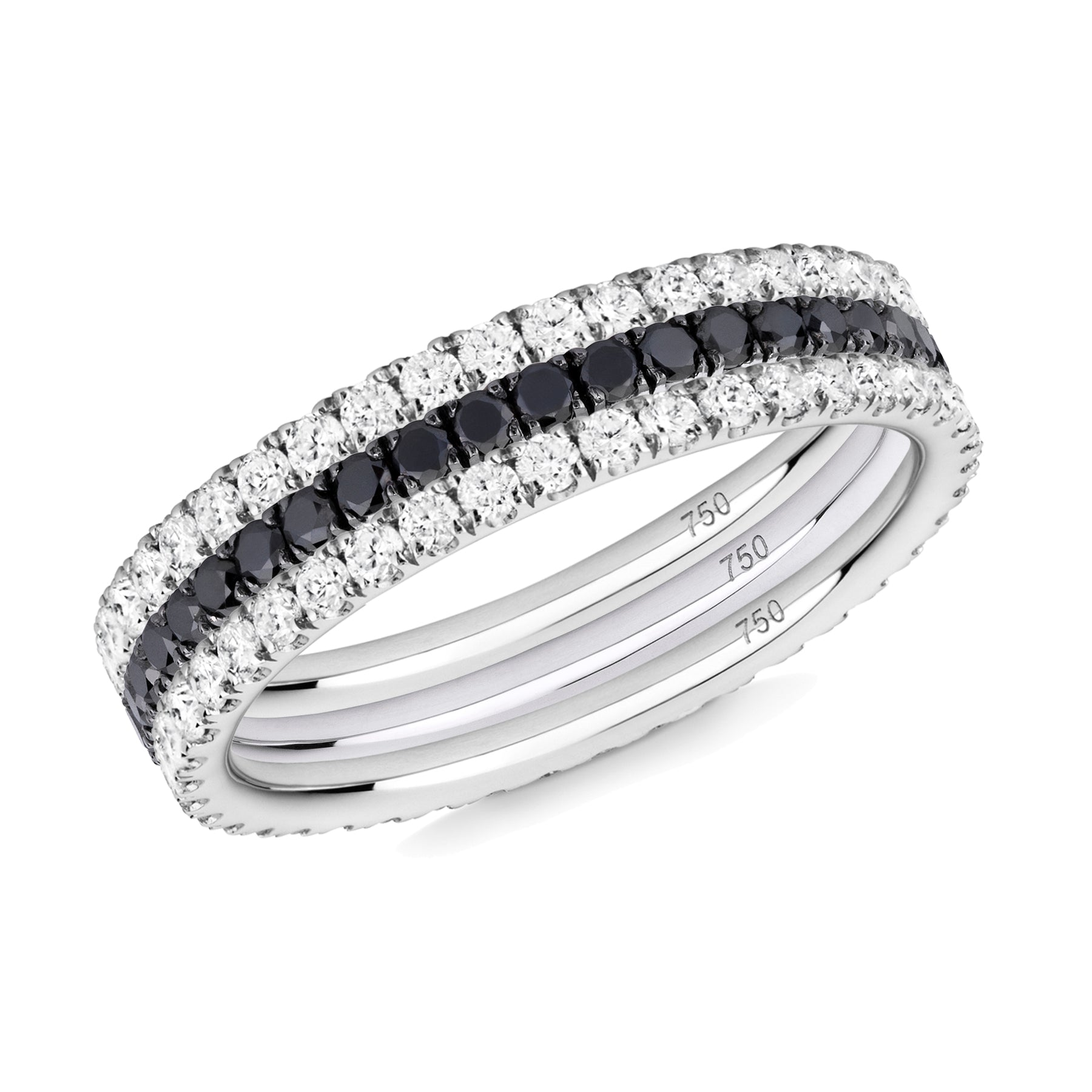 Black and White eternity ring stack