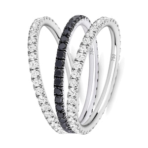 Black and White eternity ring stack 18ct white gold