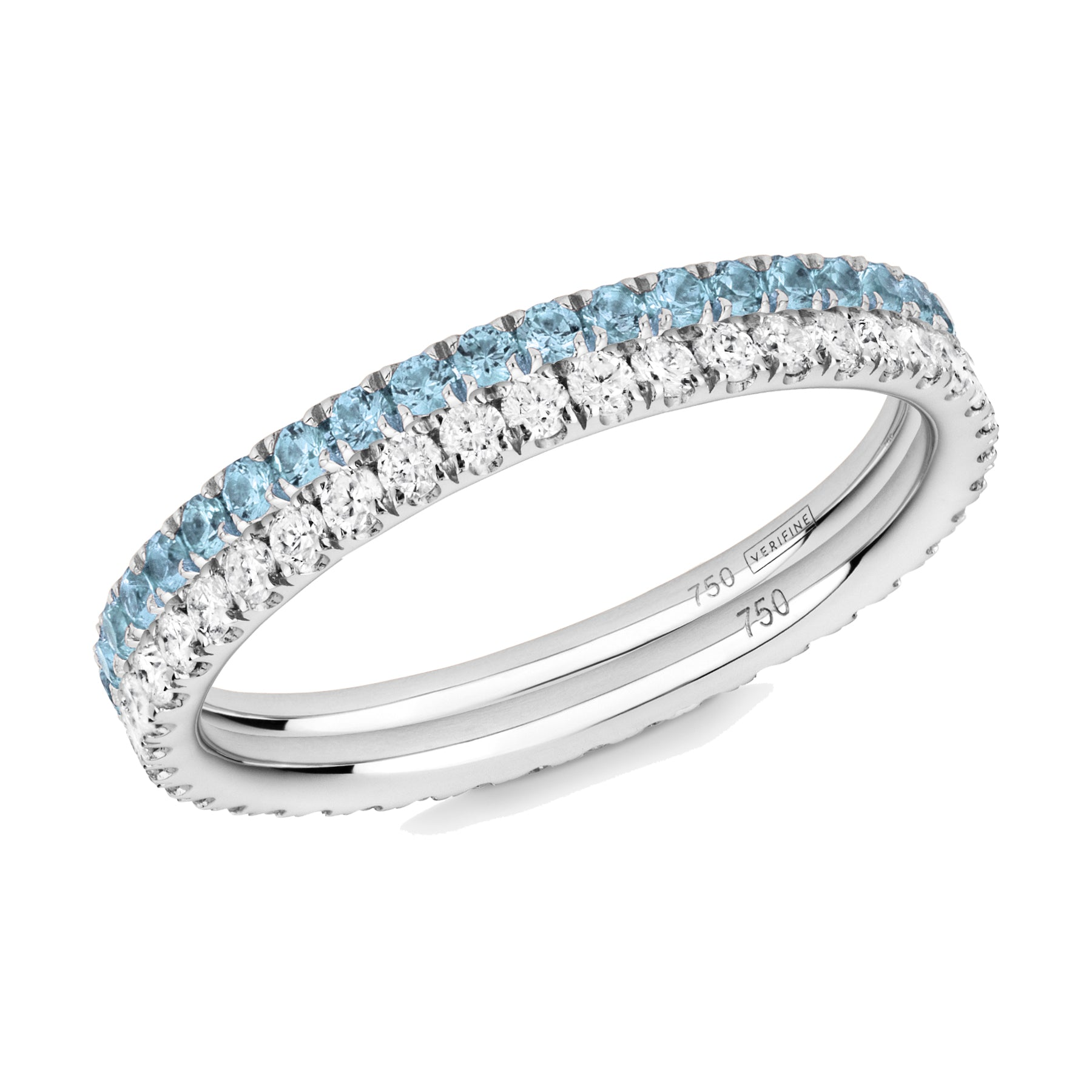 blue topaz and diamond ring pair