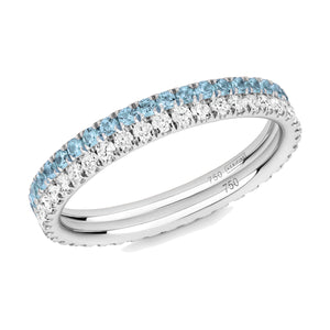 blue topaz and diamond eternity ring pair 18ct white gold
