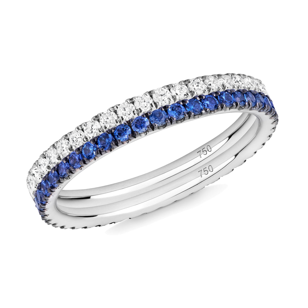 diamond and sapphire eternity ring pair 18ct white gold