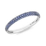 Gemopoli blue sapphire 3 row half eternity 18ct white gold