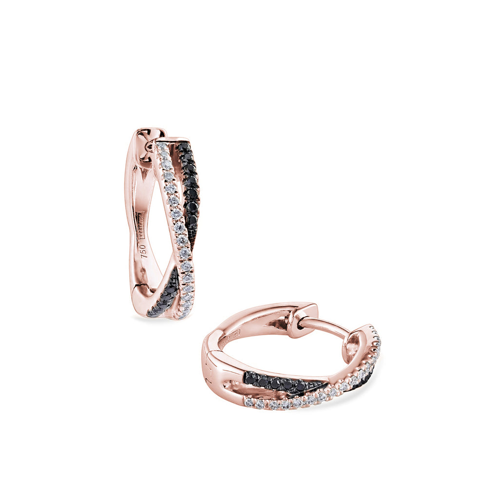 cross-over black & white diamond mini hoops 18ct rose gold