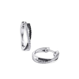 cross-over black & white diamond mini hoops