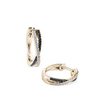 cross-over black & white diamond mini hoops 18ct yellow gold