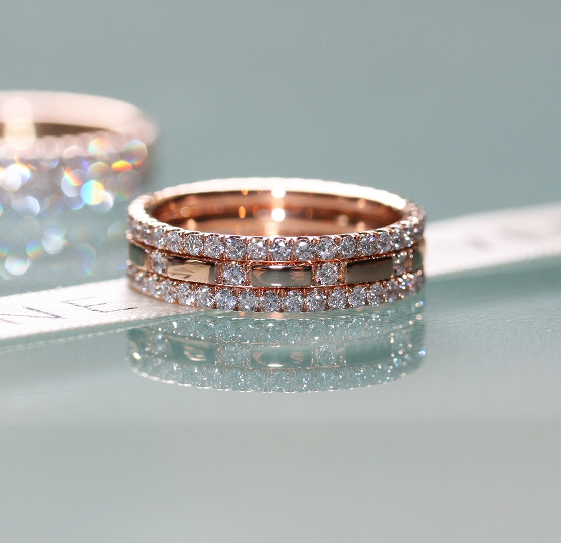 diamond filler ring stack 18ct rose gold