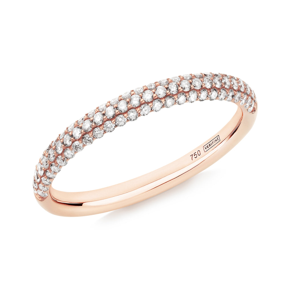 Gemopoli 3 row diamond half eternity ring 18ct rose gold