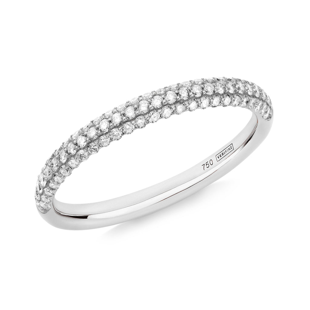 Gemopoli 3 row diamond half eternity ring 18ct white gold