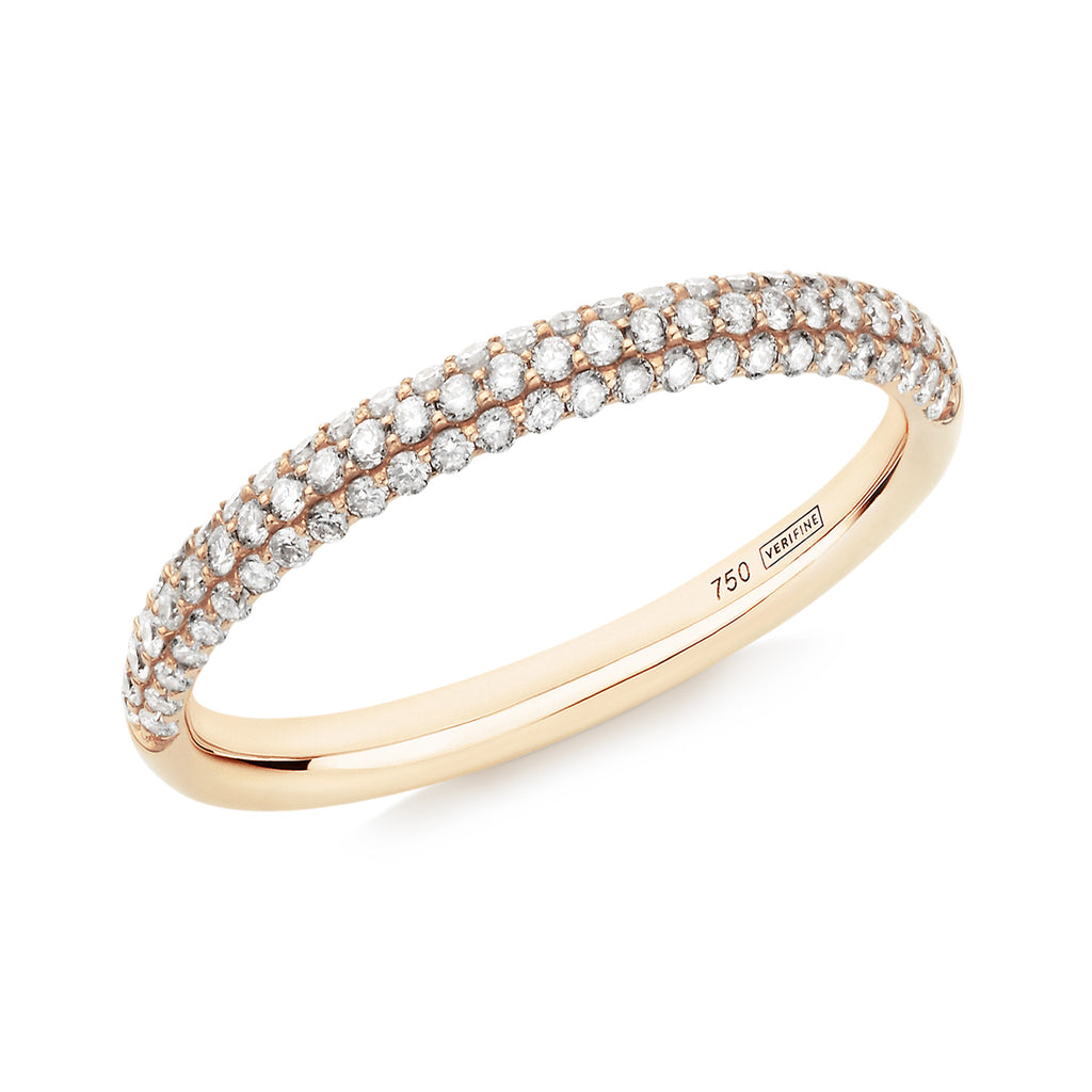 Gemopoli 3 row diamond half eternity ring 18ct yellow gold