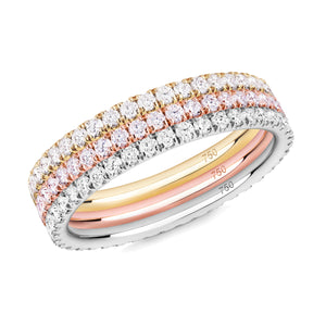 Diamond Trilogy eternity ring stack 18ct gold