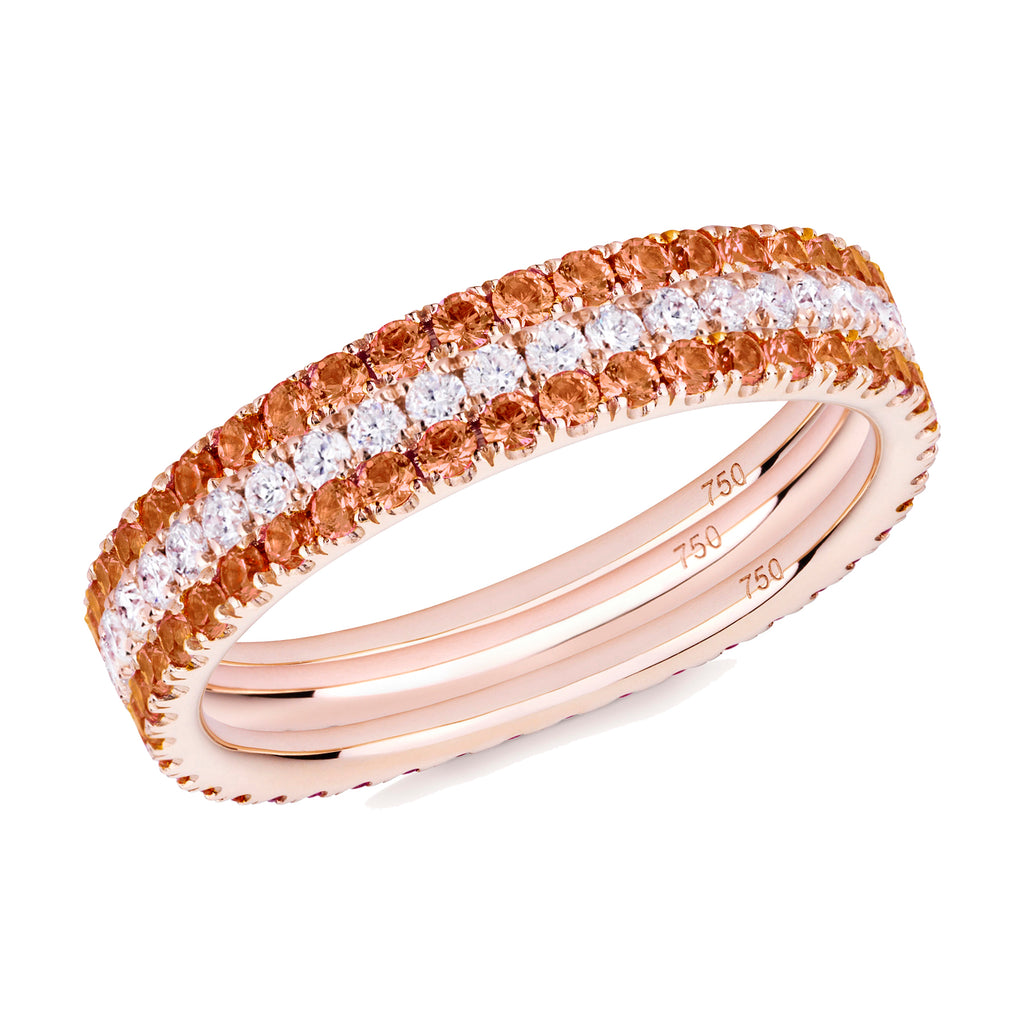 Diamonds on Fire eternity ring stack