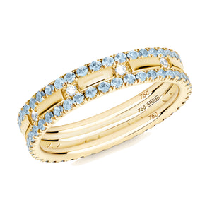 blue topaz XX filler ring stack