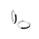 black diamond huggie earrings
