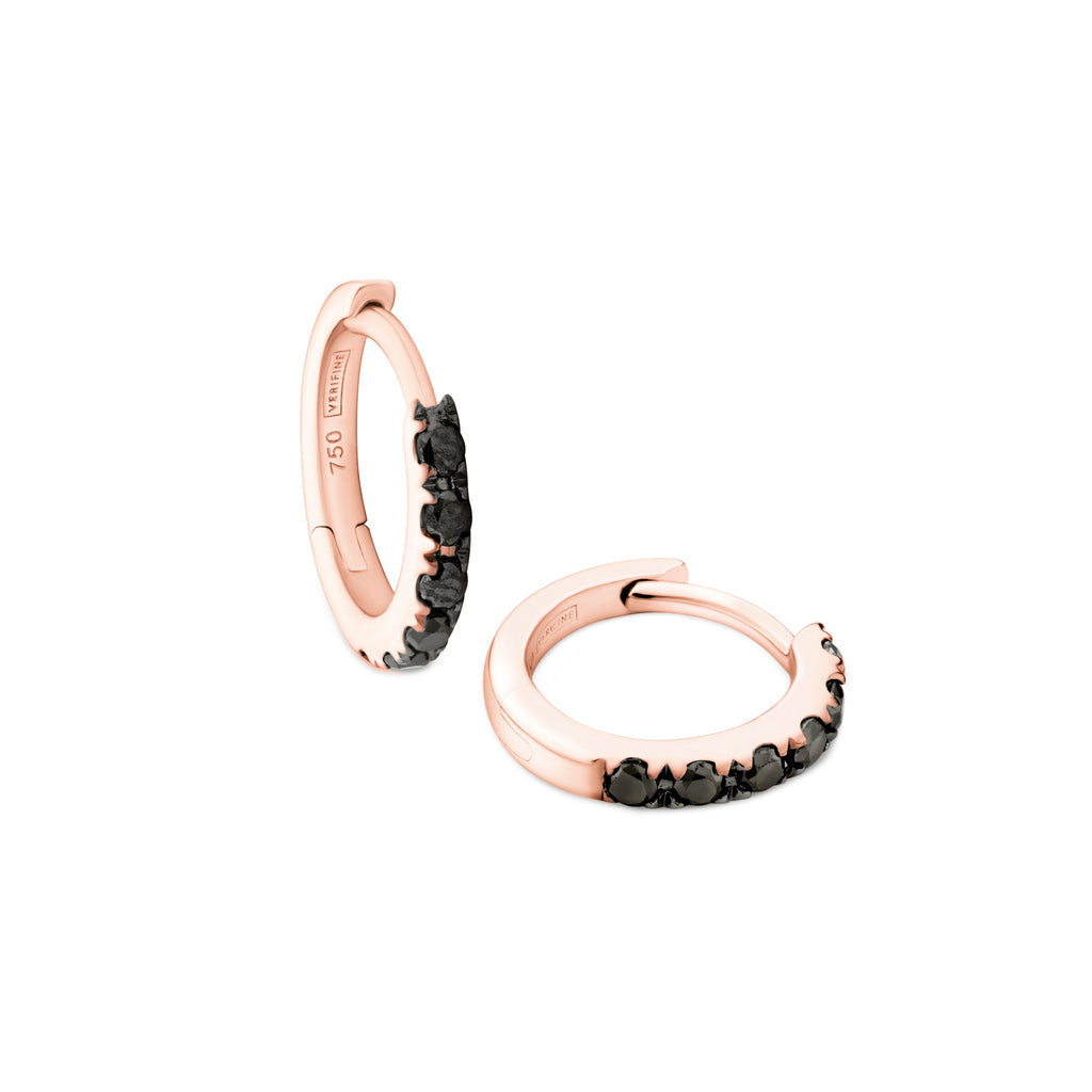 black diamond huggie earrings 18ct rose gold