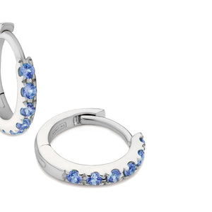 blue sapphire huggie earrings 18ct white gold