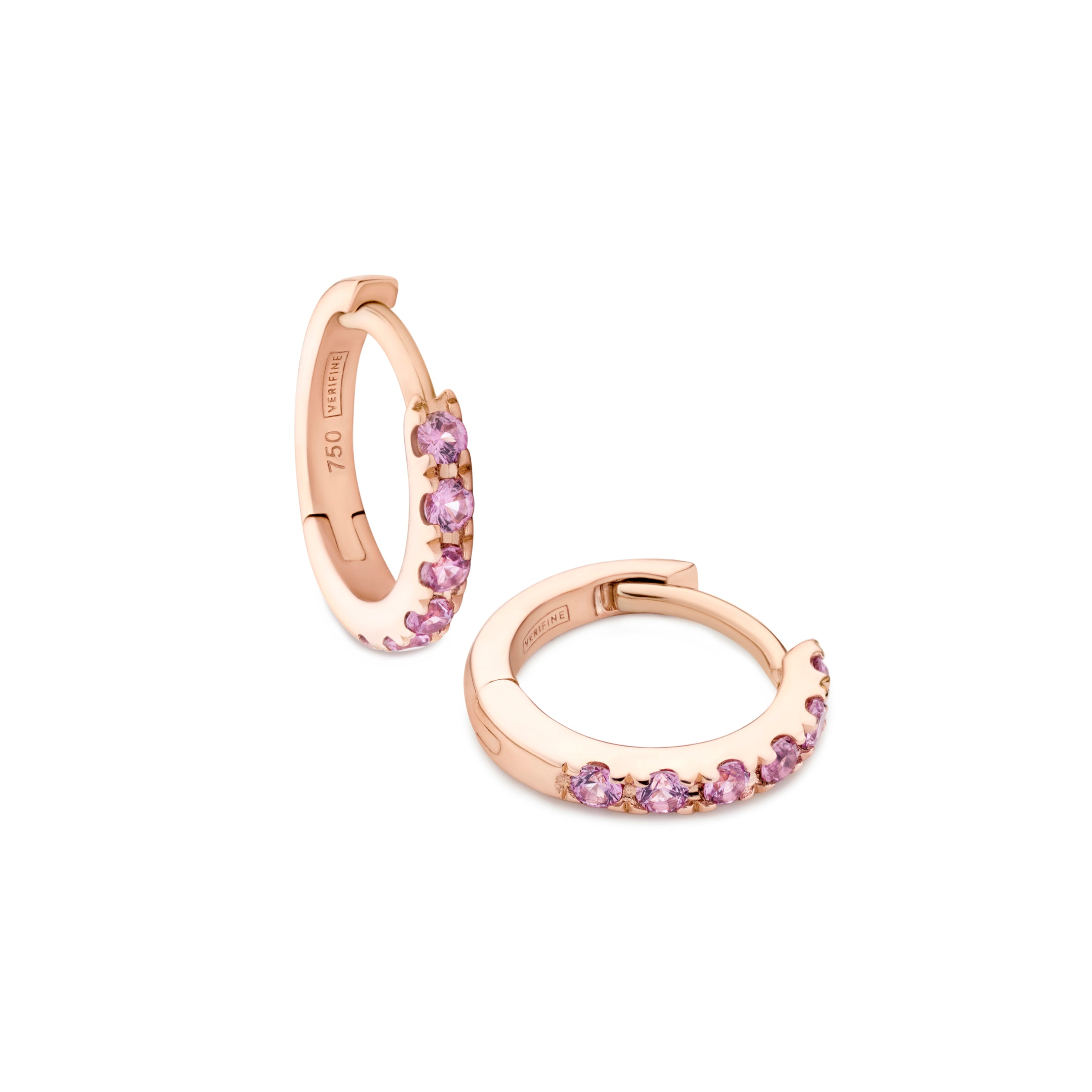 Pink sapphire huggie earrings in 18ct rose gold on white background