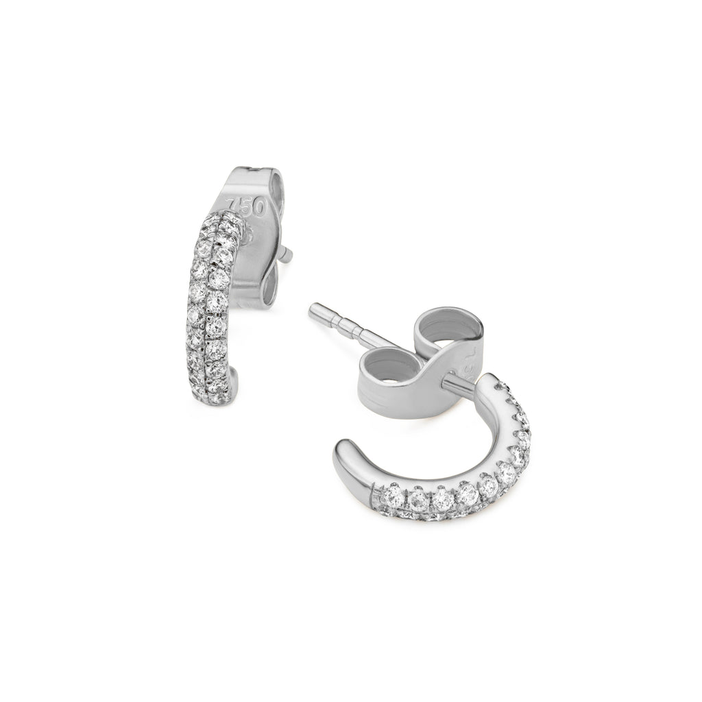 Pair of 2-row diamond Gemopoli huggie earrings