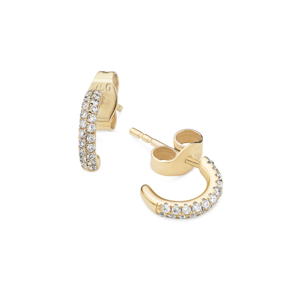 2-row pavé diamond Gemopoli huggies 18ct yellow gold