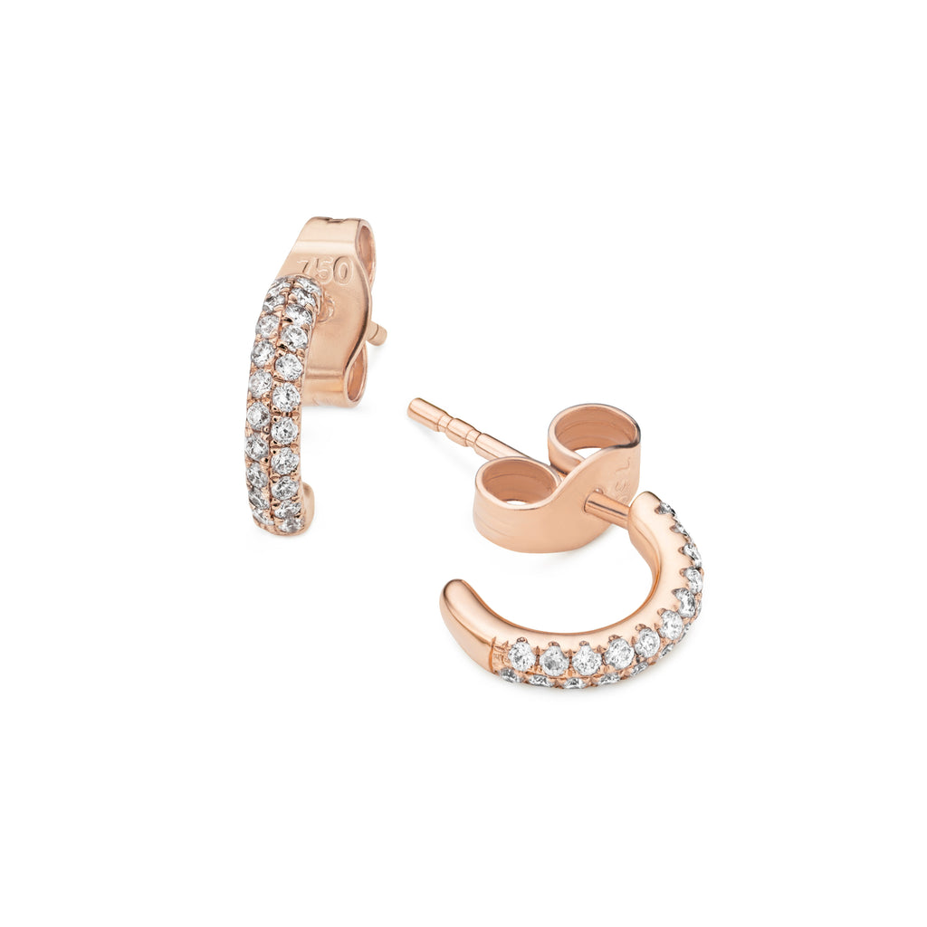 Pair of  Earrings - 2-row diamond Gemopoli huggies