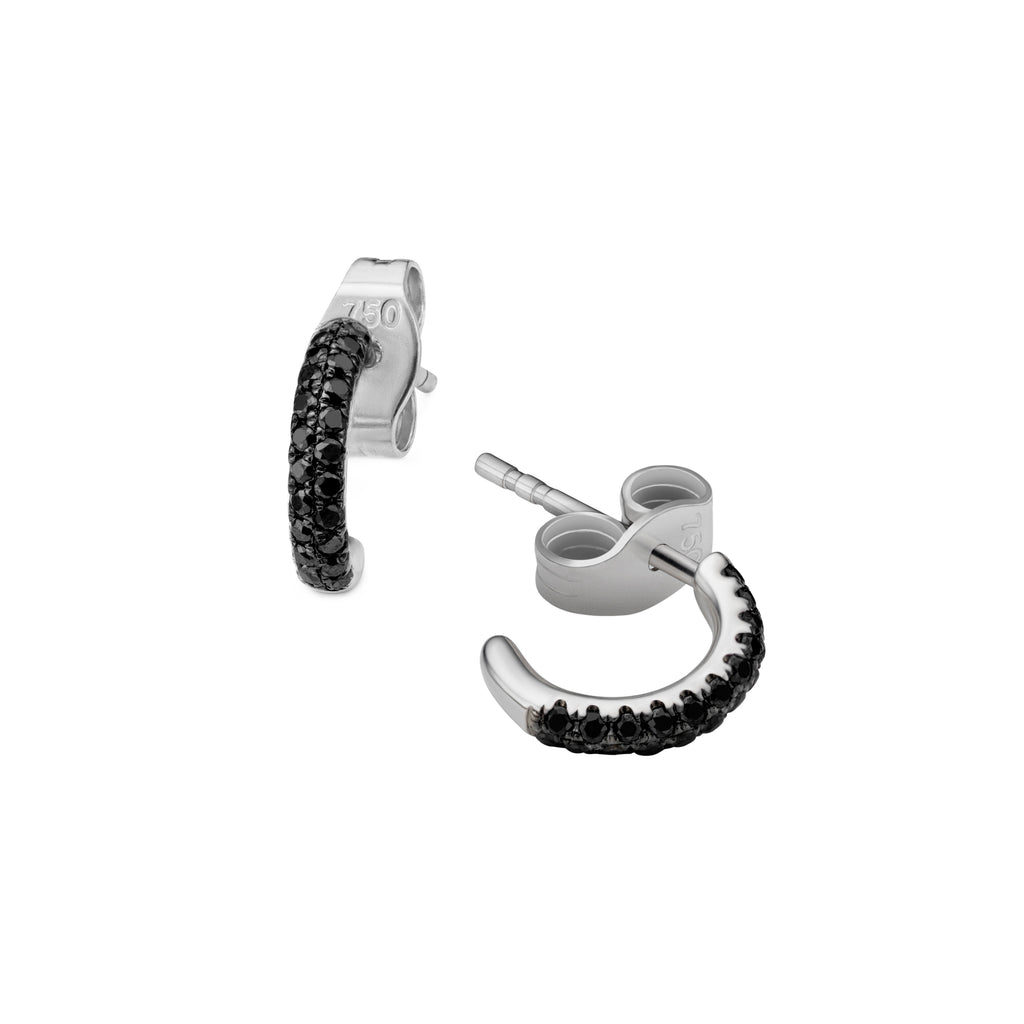 2-row black diamond Gemopoli huggie earrings